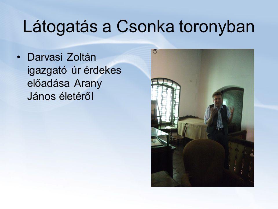 Látogatás a Csonka toronyban Darvasi Zoltán igazgató úr érdekes előadása Arany János életéről