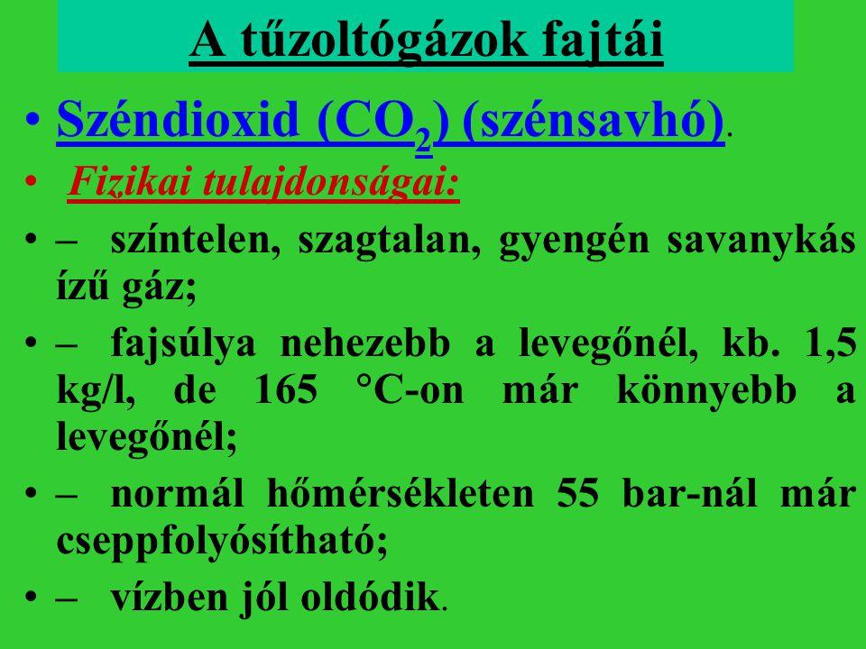 A tűzoltógázok fajtái Széndioxid (CO 2 ) (szénsavhó). Fizikai tulajdonságai: –színtelen, szagtalan, gyengén savanykás ízű gáz; –fajsúlya nehezebb a le