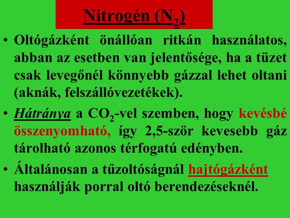 Nitrogén (N 2 ) Oltógázként önállóan ritkán használatos, abban az esetben van jelentősége, ha a tüzet csak levegőnél könnyebb gázzal lehet oltani (akn