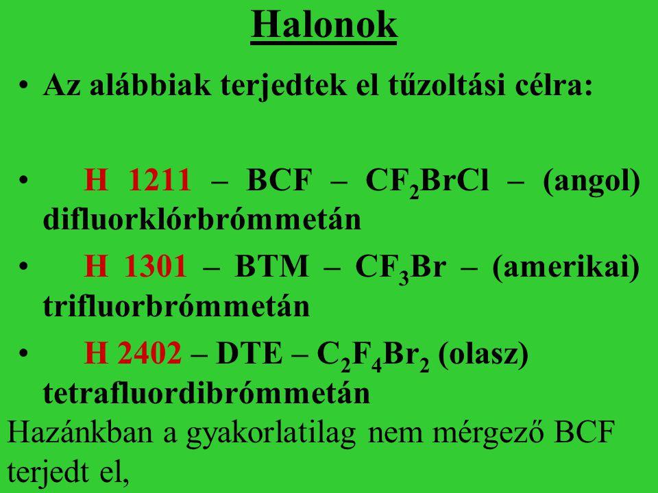 Halonok Az alábbiak terjedtek el tűzoltási célra: H 1211 – BCF – CF 2 BrCl – (angol) difluorklórbrómmetán H 1301 – BTM – CF 3 Br – (amerikai) trifluor