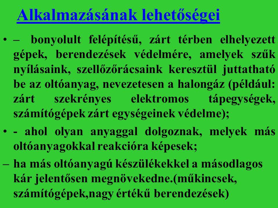 Oltógázok csoportosítása, jellemzése Az oltógázok oltásmechanizmusuk szerint lehetnek: –semleges, ún.