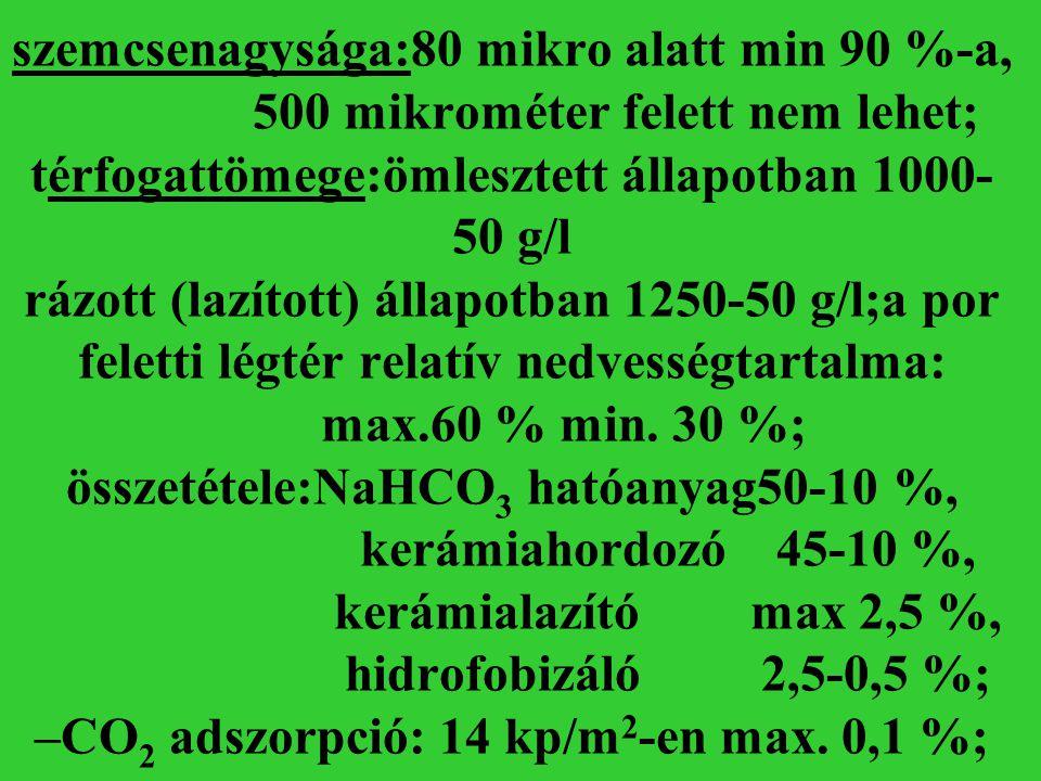 szemcsenagysága:80 mikro alatt min 90 %-a, 500 mikrométer felett nem lehet; térfogattömege:ömlesztett állapotban 1000- 50 g/l rázott (lazított) állapo