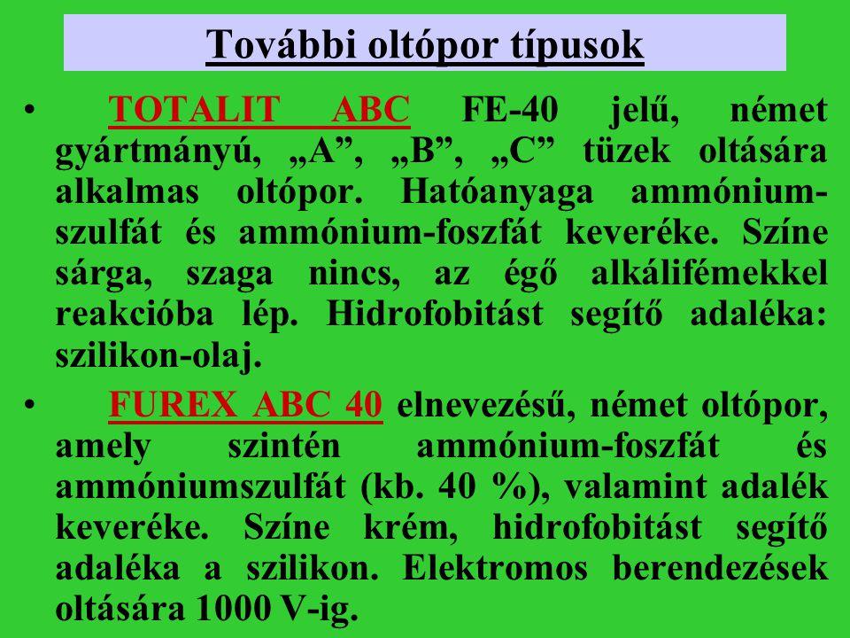 """További oltópor típusok TOTALIT ABC FE-40 jelű, német gyártmányú, """"A"""", """"B"""", """"C"""" tüzek oltására alkalmas oltópor. Hatóanyaga ammónium- szulfát és ammón"""