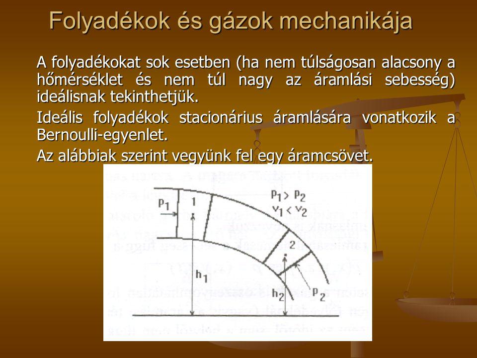 Folyadékok és gázok mechanikája A folyadékokat sok esetben (ha nem túlságosan alacsony a hőmérséklet és nem túl nagy az áramlási sebesség) ideálisnak