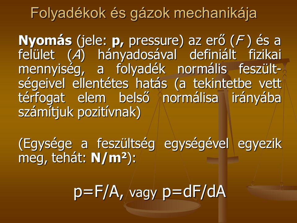 Folyadékok és gázok mechanikája Nyomás (jele: p, pressure) az erő (F ) és a felület (A) hányadosával definiált fizikai mennyiség, a folyadék normális