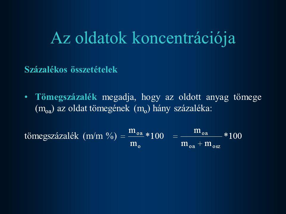 Az oldatok koncentrációja Százalékos összetételek Tömegszázalék megadja, hogy az oldott anyag tömege (m oa ) az oldat tömegének (m o ) hány százaléka: tömegszázalék (m/m %)