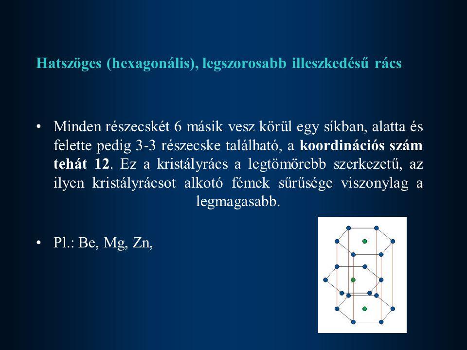 Hatszöges (hexagonális), legszorosabb illeszkedésű rács Minden részecskét 6 másik vesz körül egy síkban, alatta és felette pedig 3-3 részecske található, a koordinációs szám tehát 12.