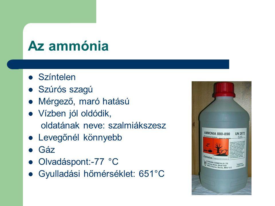 Az ammónia Színtelen Szúrós szagú Mérgező, maró hatású Vízben jól oldódik, oldatának neve: szalmiákszesz Levegőnél könnyebb Gáz Olvadáspont:-77 °C Gyu