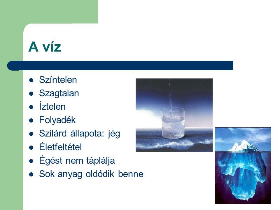 A víz Színtelen Szagtalan Íztelen Folyadék Szilárd állapota: jég Életfeltétel Égést nem táplálja Sok anyag oldódik benne