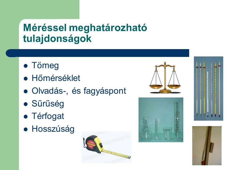 Kísérlet során megfigyelhető tulajdonságok Gyúlékonyság Oldhatóság Mágnesezhetőség Hajlíthatóság Kovácsolhatóság Stb.