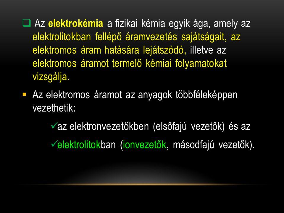 A primer elektródok jelölése és a lejátszódó reakciók: -Kation elektródok: M / M z+ M z+ + ze - M - Anion elektródok: A / A z- A + ze - A z-