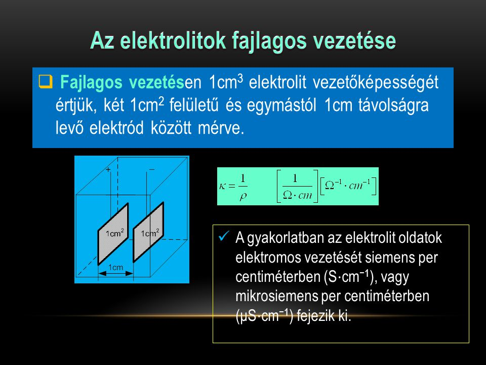 ElektronvezetőkIonvezetők Anyag t  C   -1 cm -1  Anyag t  C   -1 cm -1  Ag18 67,2  10 4 NaCl (l) 7503,4 Cu18 64,5  10 4 H 2 SO 4(aq) 30%-os180,74 Al18 36,0  10 4 KCl (aq) 1M180,0978 Pt18 8,62  10 4 H 2 O (l) 18 3,84  10 -8