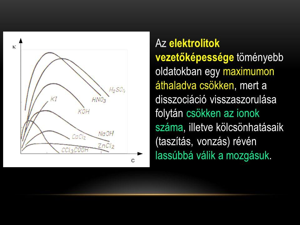 A KCl oldat koncentrációja Elektródpotenciál 25°C-on, [ V ] 0,1 M0,3365 1,0 M0,2828 Telített oldat0,2438