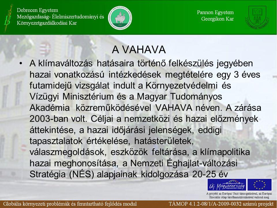 A VAHAVA A klímaváltozás hatásaira történő felkészülés jegyében hazai vonatkozású intézkedések megtételére egy 3 éves futamidejű vizsgálat indult a Környezetvédelmi és Vízügyi Minisztérium és a Magyar Tudományos Akadémia közreműködésével VAHAVA néven.