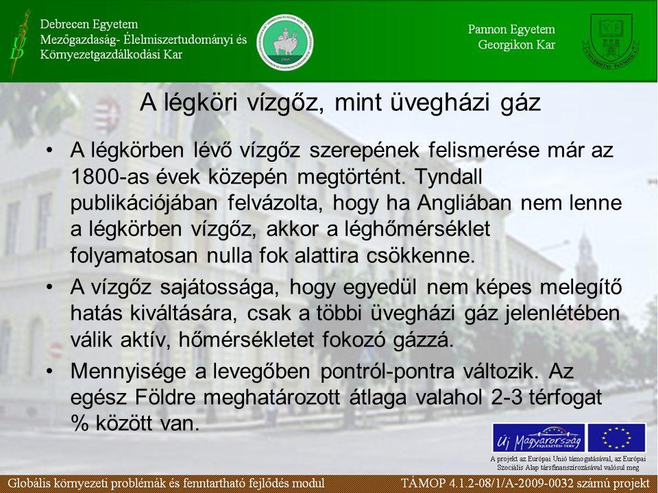 95. ábra A hazai CO 2 háttér koncentrációja (Haszpra)