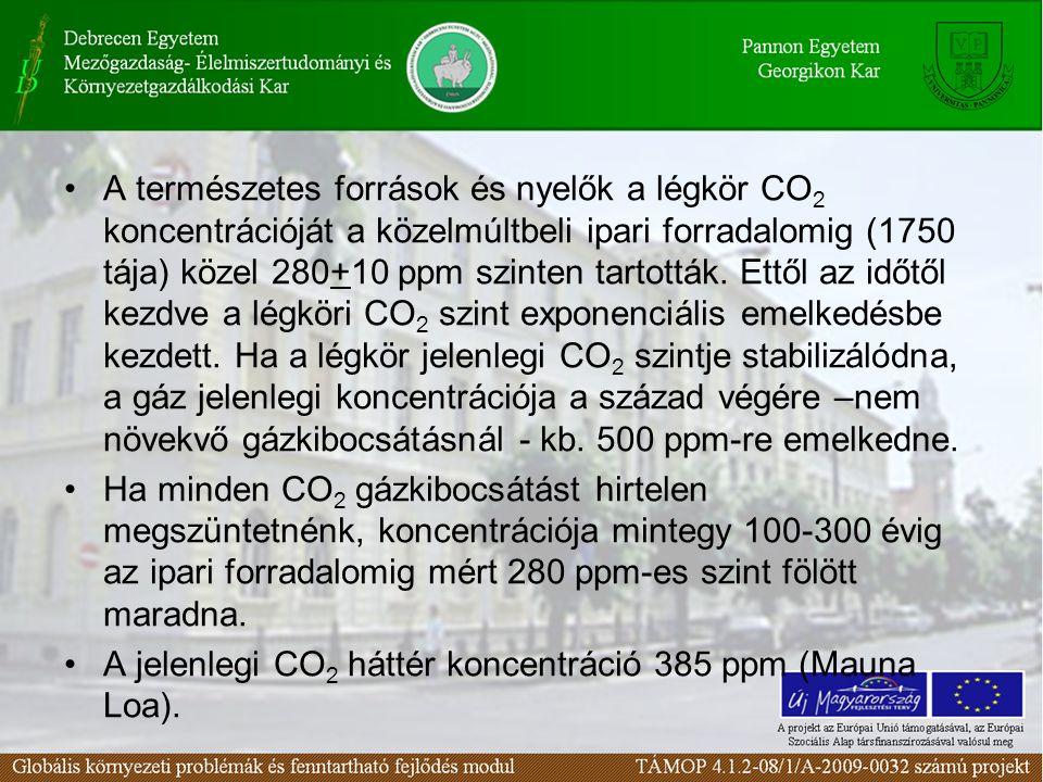 A természetes források és nyelők a légkör CO 2 koncentrációját a közelmúltbeli ipari forradalomig (1750 tája) közel 280+10 ppm szinten tartották.