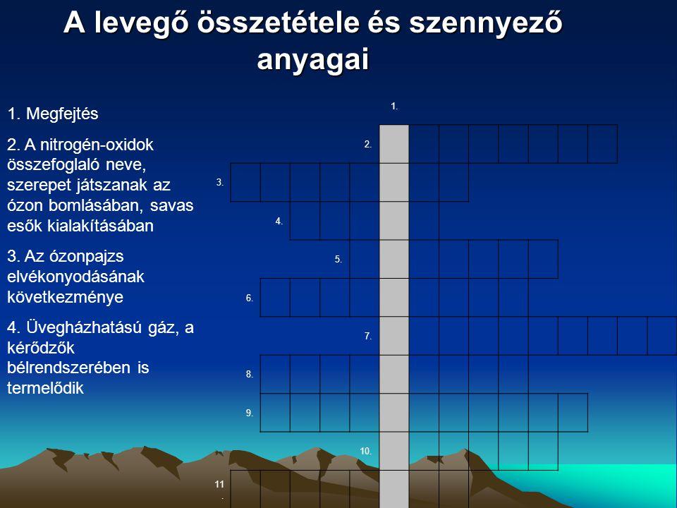 A levegő összetétele és szennyező anyagai 1. 2. 3. 4. 5. 6. 7. 8. 9. 10. 11. 1. Megfejtés 2. A nitrogén-oxidok összefoglaló neve, szerepet játszanak a