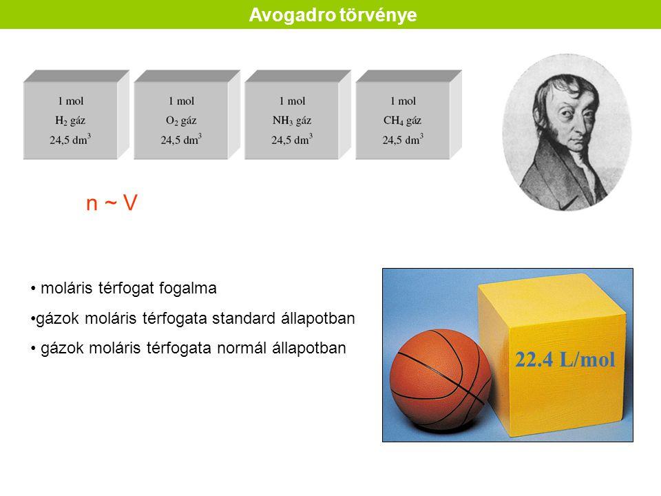 moláris térfogat fogalma gázok moláris térfogata standard állapotban gázok moláris térfogata normál állapotban Avogadro törvénye n ~ V 22.4 L/mol