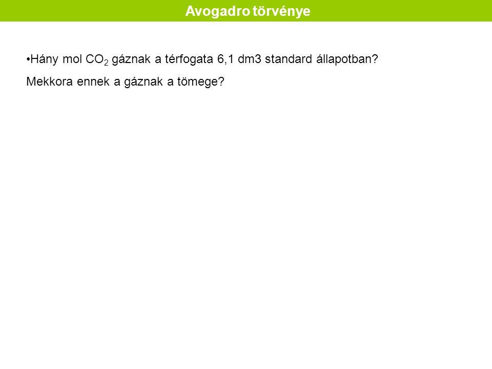 Avogadro törvénye Hány mol CO 2 gáznak a térfogata 6,1 dm3 standard állapotban.