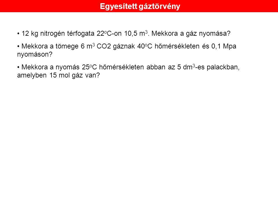 12 kg nitrogén térfogata 22 o C-on 10,5 m 3.Mekkora a gáz nyomása.