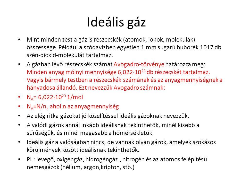 Ideális gáz Mint minden test a gáz is részecskék (atomok, ionok, molekulák) összessége. Például a szódavízben egyetlen 1 mm sugarú buborék 1017 db szé