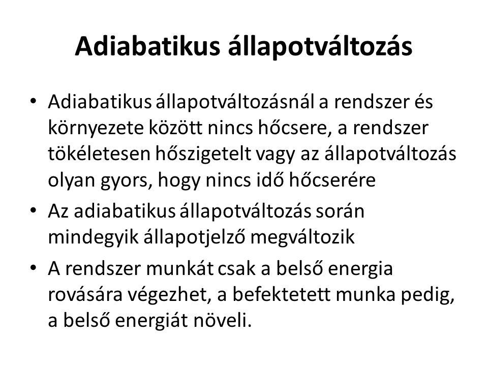 Adiabatikus állapotváltozás Adiabatikus állapotváltozásnál a rendszer és környezete között nincs hőcsere, a rendszer tökéletesen hőszigetelt vagy az á