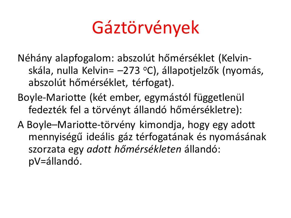 Általános gáztörvény IDEÁLIS GÁZOK ÁLLAPOTEGYENLETE n: anyagmennyiség [mol] N: részecskeszám p: nyomás V: térfogyat T: hőmérséklet R: univerzális gázállandó (=8,31 J/mol K) N A : Avogadro-féle szám (=6,02*10 23 ) k: Boltzmann állandó (=1,38*10 -23 J/K )