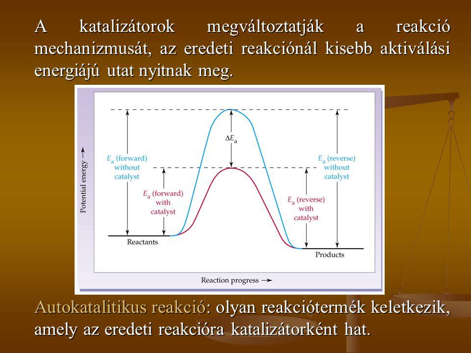 A katalizátorok megváltoztatják a reakció mechanizmusát, az eredeti reakciónál kisebb aktiválási energiájú utat nyitnak meg. Autokatalitikus reakció: