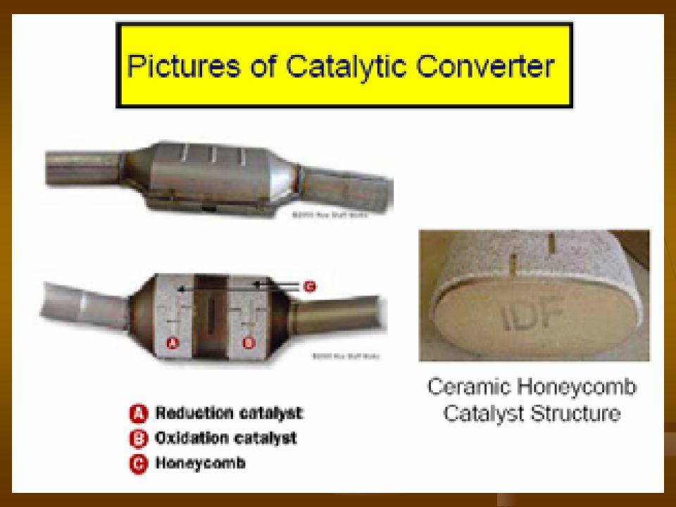 a., NO redukció (Rh): 2 NO + 2 CO  N 2 + 2 CO 2 NO + szénhidrogén  N 2 + CO 2 + H 2 O 2 NO + 2 H 2  N 2 + 2 H 2 O 2 NO + 5 H 2  2 NH 3 + 2 H 2 O szénhidrogén + H 2 O  CO + CO 2 + H 2 b., oxidáció (Pt és Pd): 2 CO + O 2  2 CO 2 szénhidrogén + O 2  CO 2 + H 2 O 2 H 2 + O 2  2 H 2 O kisebb valószínűséggel lejátszódó reakciók: 6 NO + 4 NH 3  5 N 2 + 6 H 2 O 2 NO + H 2  N 2 O + H 2 O 2 N 2 O  2 N 2 + O 2