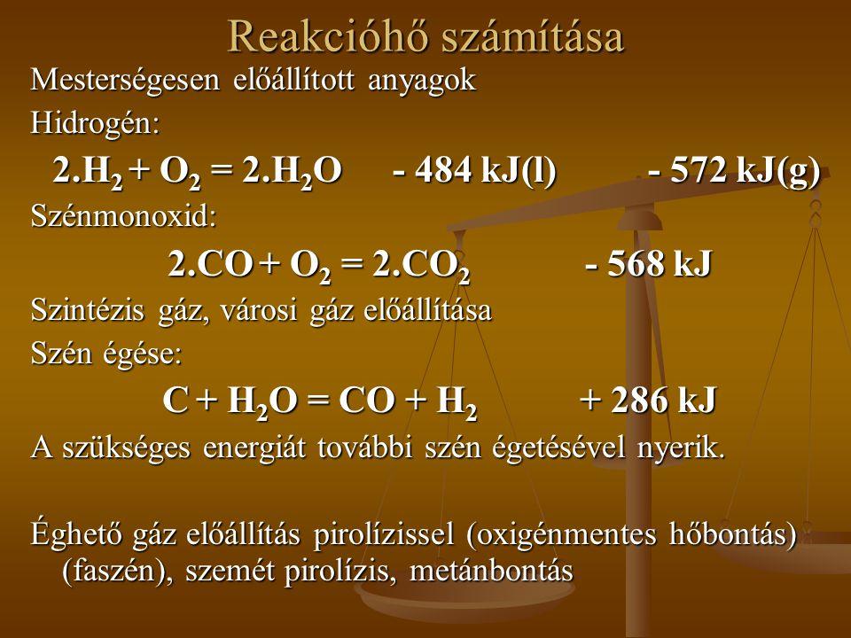 Reakcióhő számítása Mesterségesen előállított anyagok Hidrogén: 2.H 2 + O 2 = 2.H 2 O- 484 kJ(l)- 572 kJ(g) Szénmonoxid: 2.CO + O 2 = 2.CO 2 - 568 kJ