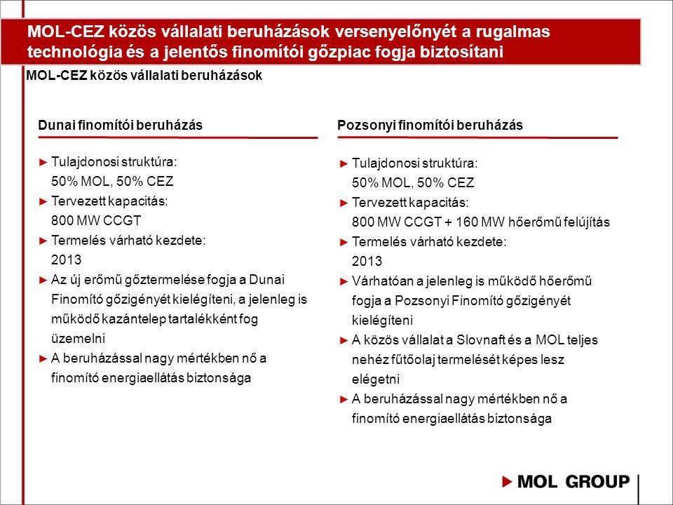 MOL-CEZ közös vállalati beruházások versenyelőnyét a rugalmas technológia és a jelentős finomítói gőzpiac fogja biztosítani MOL-CEZ közös vállalati beruházások Dunai finomítói beruházásPozsonyi finomítói beruházás ► Tulajdonosi struktúra: 50% MOL, 50% CEZ ► Tervezett kapacitás: 800 MW CCGT ► Termelés várható kezdete: 2013 ► Az új erőmű gőztermelése fogja a Dunai Finomító gőzigényét kielégíteni, a jelenleg is működő kazántelep tartalékként fog üzemelni ► A beruházással nagy mértékben nő a finomító energiaellátás biztonsága ► Tulajdonosi struktúra: 50% MOL, 50% CEZ ► Tervezett kapacitás: 800 MW CCGT + 160 MW hőerőmű felújítás ► Termelés várható kezdete: 2013 ► Várhatóan a jelenleg is működő hőerőmű fogja a Pozsonyi Finomító gőzigényét kielégíteni ► A közös vállalat a Slovnaft és a MOL teljes nehéz fűtőolaj termelését képes lesz elégetni ► A beruházással nagy mértékben nő a finomító energiaellátás biztonsága