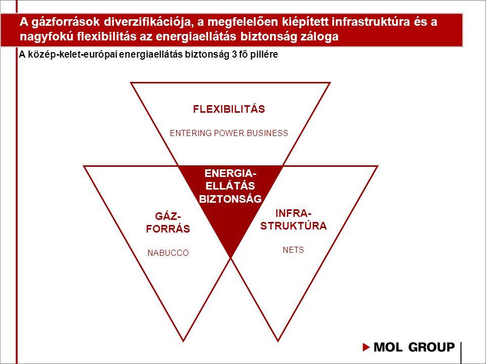 GÁZ- FORRÁS NABUCCO INFRA- STRUKTÚRA NETS A közép-kelet-európai energiaellátás biztonság 3 fő pillére A gázforrások diverzifikációja, a megfelelően kiépített infrastruktúra és a nagyfokú flexibilitás az energiaellátás biztonság záloga FLEXIBILITÁS ENTERING POWER BUSINESS ENERGIA- ELLÁTÁS BIZTONSÁG