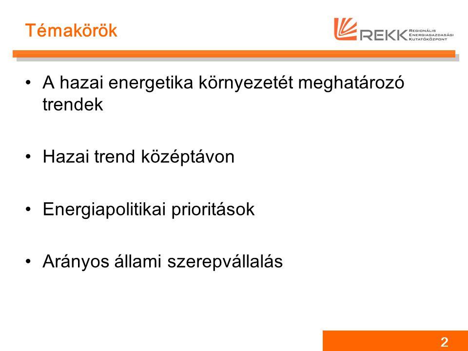 Témakörök A hazai energetika környezetét meghatározó trendek Hazai trend középtávon Energiapolitikai prioritások Arányos állami szerepvállalás 2