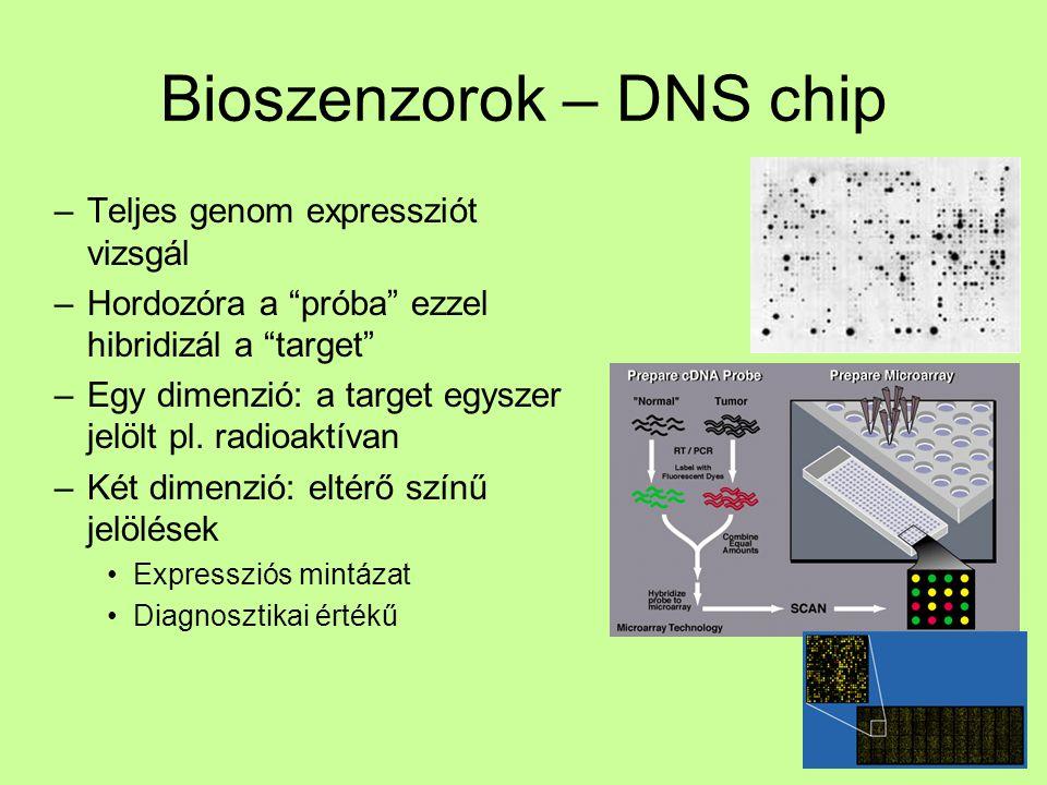 """Bioszenzorok – DNS chip –Teljes genom expressziót vizsgál –Hordozóra a """"próba"""" ezzel hibridizál a """"target"""" –Egy dimenzió: a target egyszer jelölt pl."""