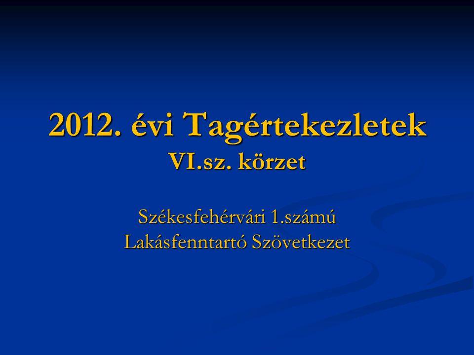 2012. évi Tagértekezletek VI.sz. körzet Székesfehérvári 1.számú Lakásfenntartó Szövetkezet
