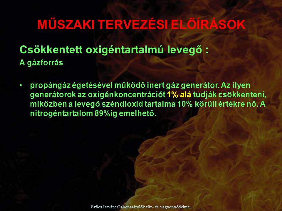 Szőcs István: Gabonatárolók tűz- és vagyonvédelme. Csökkentett oxigéntartalmú levegő : A gázforrás propángáz égetésével működő inert gáz generátor. Az