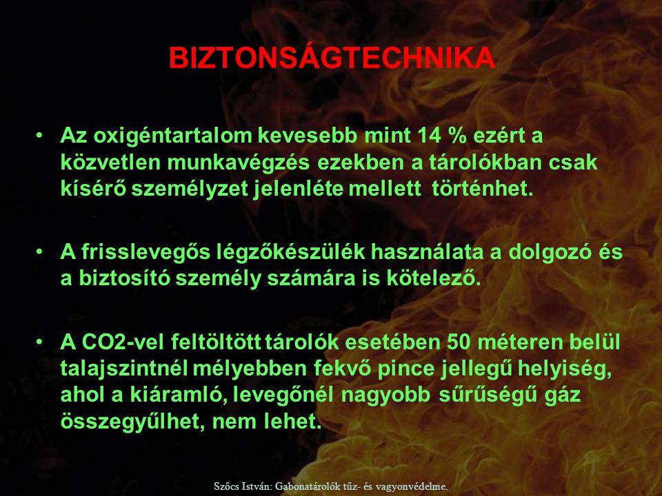 Szőcs István: Gabonatárolók tűz- és vagyonvédelme. Az oxigéntartalom kevesebb mint 14 % ezért a közvetlen munkavégzés ezekben a tárolókban csak kísérő