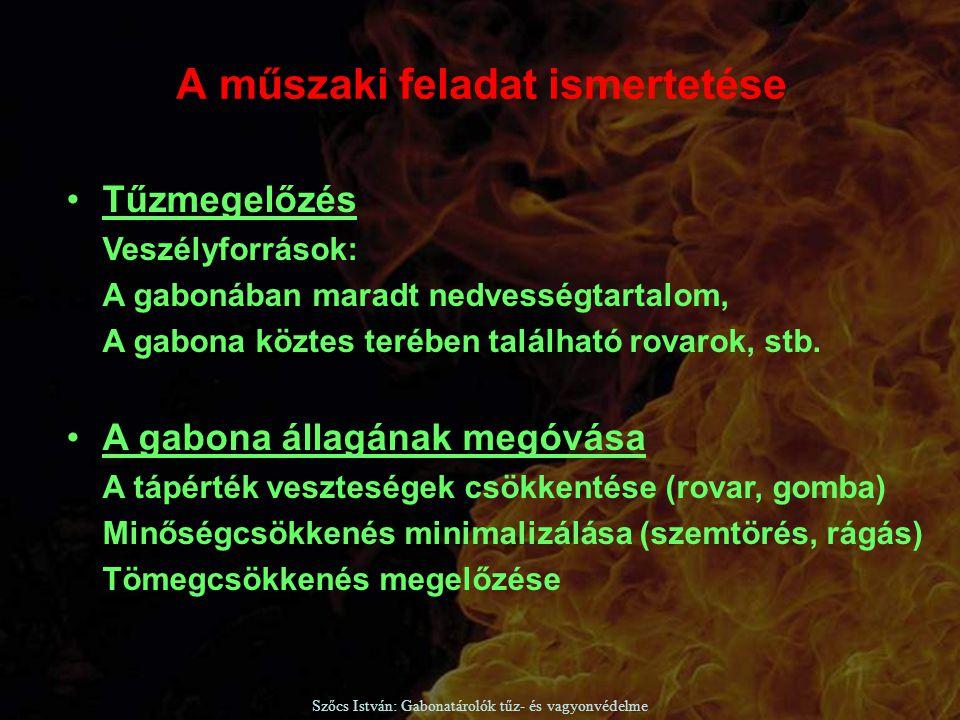 Szőcs István: Gabonatárolók tűz- és vagyonvédelme SZABÁLYOZOTT ATMOSZFÉRÁS TÁROLÁS Miért: Nincs száradási tömegveszteség, minőségromlás Nincsenek a gabonában rovarok, rágcsálók Nem alakul ki erjedés, penészesedés Nem alakulnak ki a tároló belsejében meleg gócok, nincs öngyulladásveszély A MEGOLDÁS