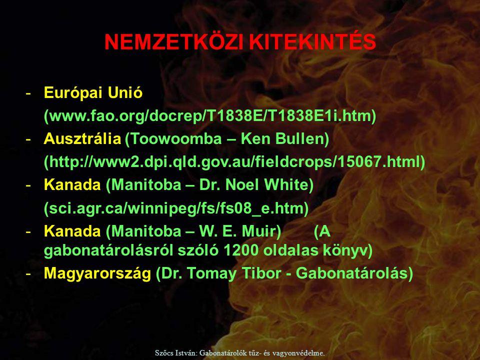 Szőcs István: Gabonatárolók tűz- és vagyonvédelme. -Európai Unió (www.fao.org/docrep/T1838E/T1838E1i.htm) -Ausztrália (Toowoomba – Ken Bullen) (http:/