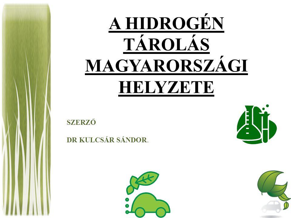 A HIDROGÉN TÁROLÁS MAGYARORSZÁGI HELYZETE SZERZŐ DR KULCSÁR SÁNDOR.