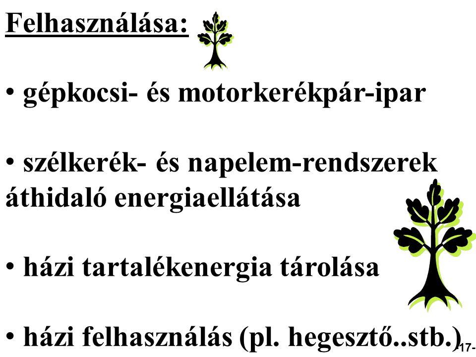Felhasználása: gépkocsi- és motorkerékpár-ipar szélkerék- és napelem-rendszerek áthidaló energiaellátása házi tartalékenergia tárolása házi felhasználás (pl.