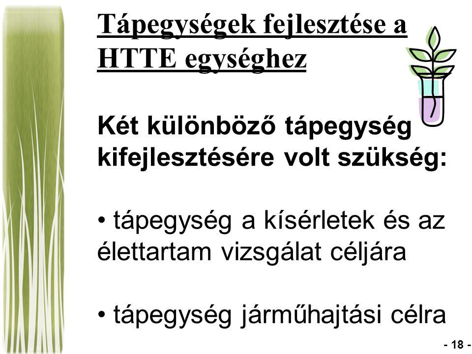 Tápegységek fejlesztése a HTTE egységhez Két különböző tápegység kifejlesztésére volt szükség: tápegység a kísérletek és az élettartam vizsgálat céljára tápegység járműhajtási célra - 18 -
