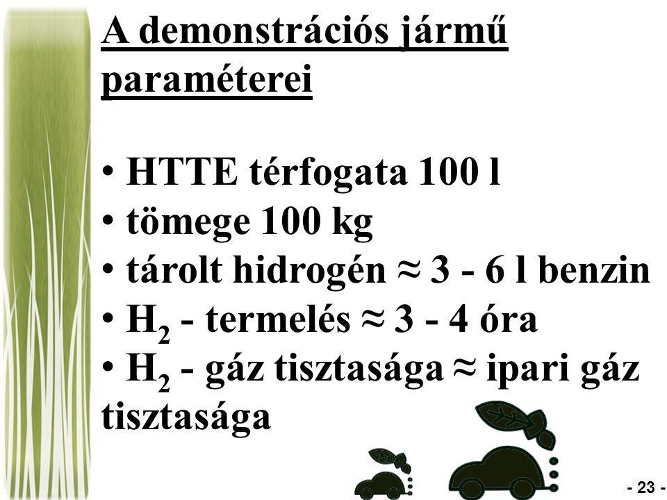 A demonstrációs jármű paraméterei HTTE térfogata 100 l tömege 100 kg tárolt hidrogén ≈ 3 - 6 l benzin H 2 - termelés ≈ 3 - 4 óra H 2 - gáz tisztasága ≈ ipari gáz tisztasága - 23 -