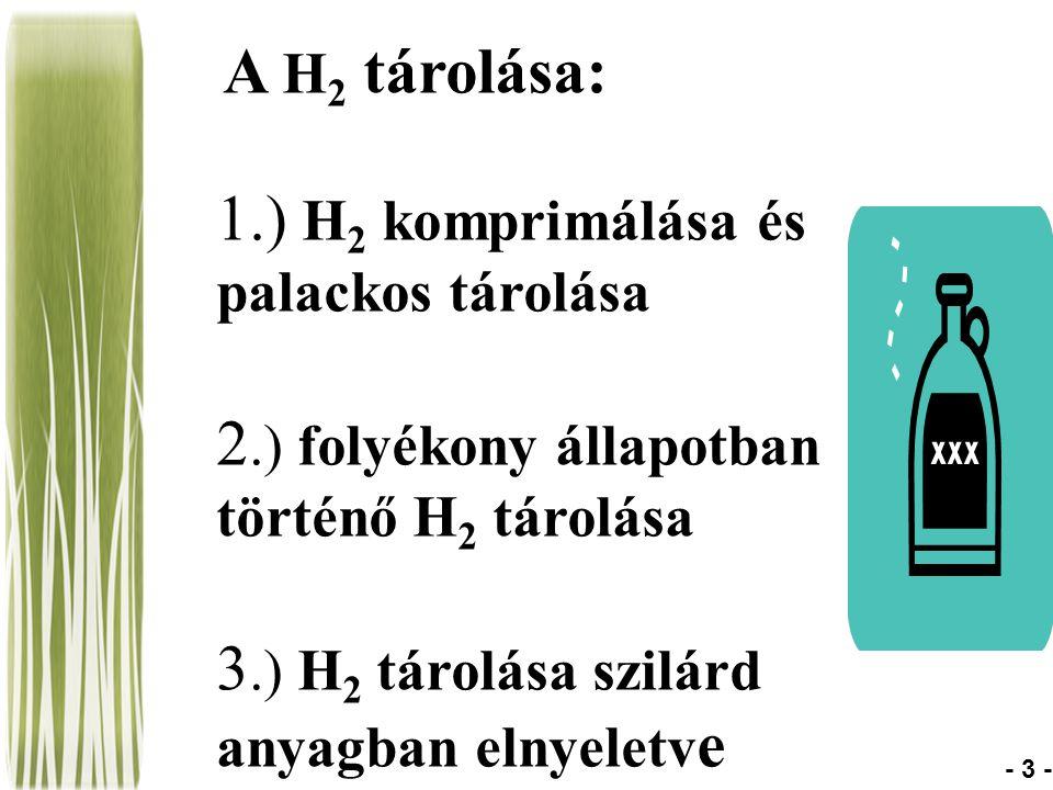A H 2 tárolása: 1.) H 2 komprimálása és palackos tárolása 2.) folyékony állapotban történő H 2 tárolása 3.) H 2 tárolása szilárd anyagban elnyeletv e