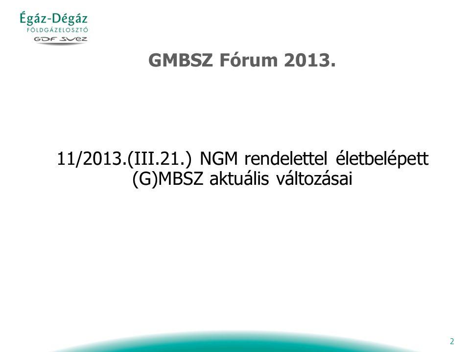 2 GMBSZ Fórum 2013. 11/2013.(III.21.) NGM rendelettel életbelépett (G)MBSZ aktuális változásai