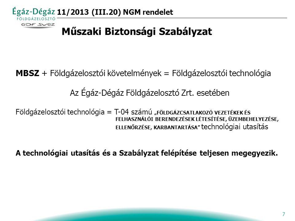 7 MBSZ + Földgázelosztói követelmények = Földgázelosztói technológia Az Égáz-Dégáz Földgázelosztó Zrt.