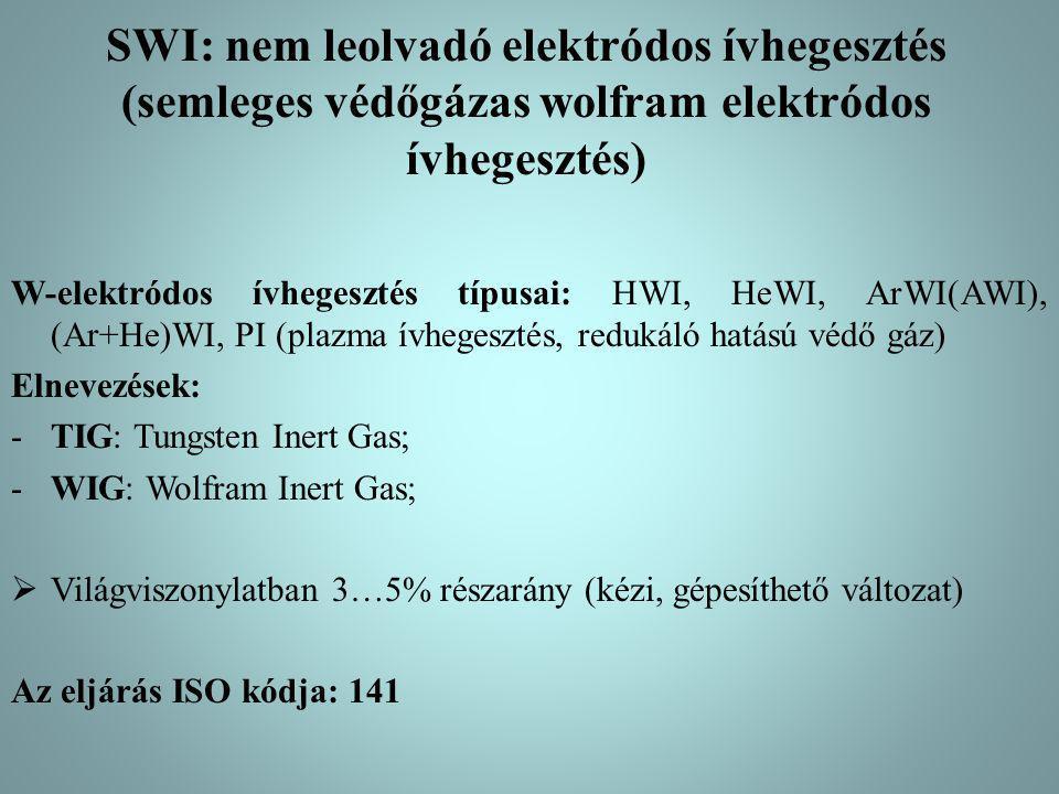 SWI: nem leolvadó elektródos ívhegesztés (semleges védőgázas wolfram elektródos ívhegesztés) W-elektródos ívhegesztés típusai: HWI, HeWI, ArWI(AWI), (