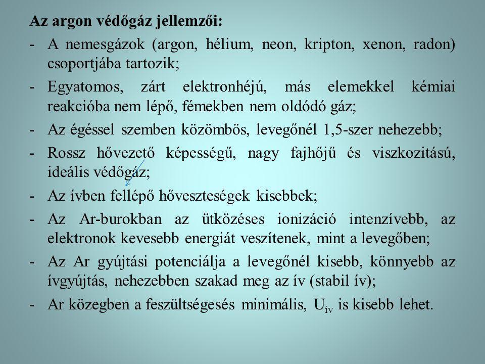 Az argon védőgáz jellemzői: -A nemesgázok (argon, hélium, neon, kripton, xenon, radon) csoportjába tartozik; -Egyatomos, zárt elektronhéjú, más elemek