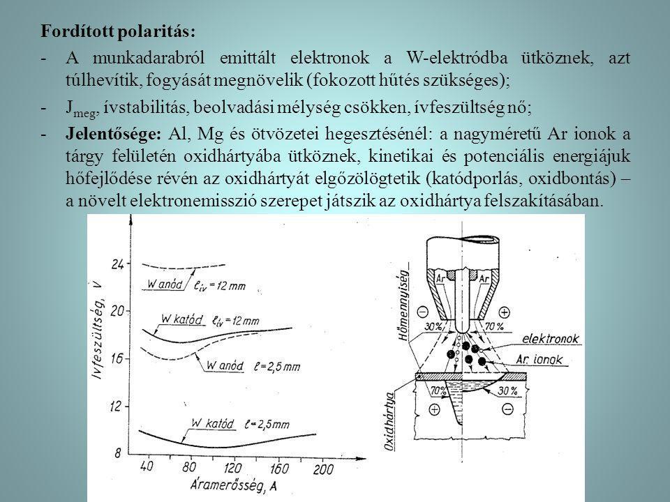 Fordított polaritás: -A munkadarabról emittált elektronok a W-elektródba ütköznek, azt túlhevítik, fogyását megnövelik (fokozott hűtés szükséges); -J