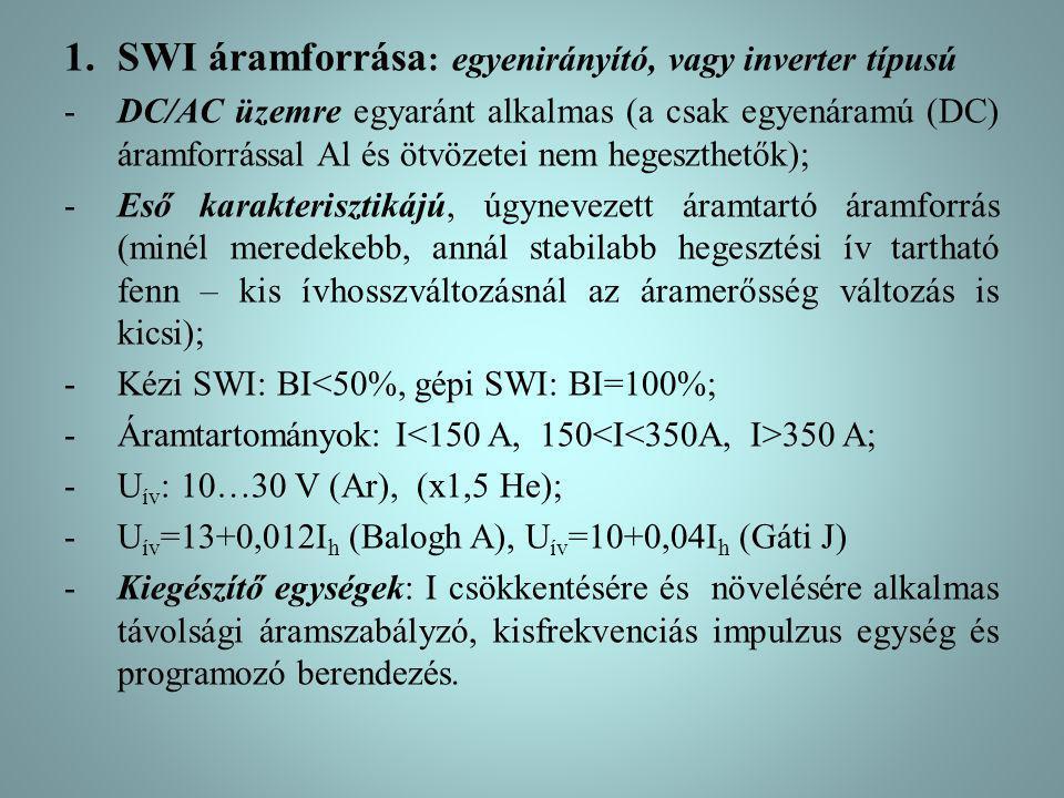 1.SWI áramforrása : egyenirányító, vagy inverter típusú -DC/AC üzemre egyaránt alkalmas (a csak egyenáramú (DC) áramforrással Al és ötvözetei nem hege